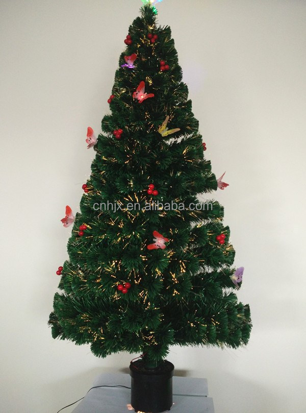 Red Berries Butterfly Decorative Fashion Good Quality Optic FIber Christmas Tree