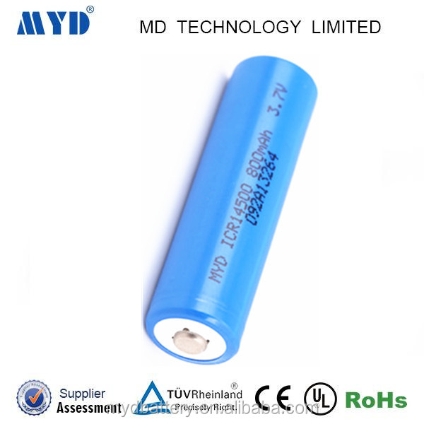 Factory price ICR14500 3.7v 800MAH lithium ion battery with remarkable over charge