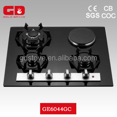 Top grade 3 burner gas hob and hotplate ceramic top gas range/ black glass with aluminum bar electric gas cooker