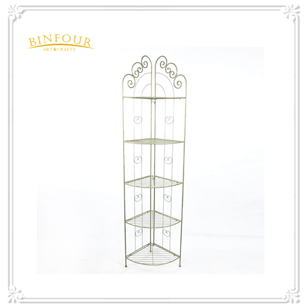 fodable 5 tiers white garden planter metal shelf