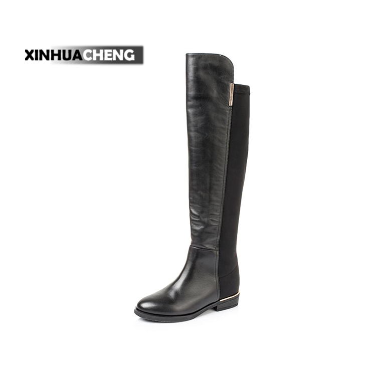 European style cow leather knee high boots