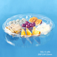 plastic tray six compartment with lid