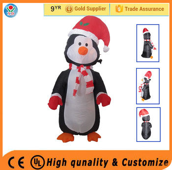 Hot selling Christmas festival decorations lighting penguin /inflatable giant christmas ornaments christmas santa