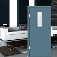 E-TOP TOP QUALITY CHEAP PRICE fire rated steel door with glass insert