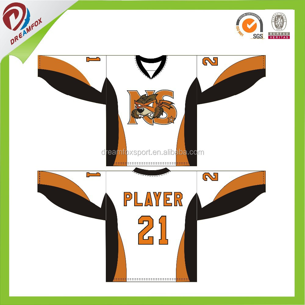wholesales breathable quick dry custom sublimation school hockey shirt design, dry fit hockey jersey