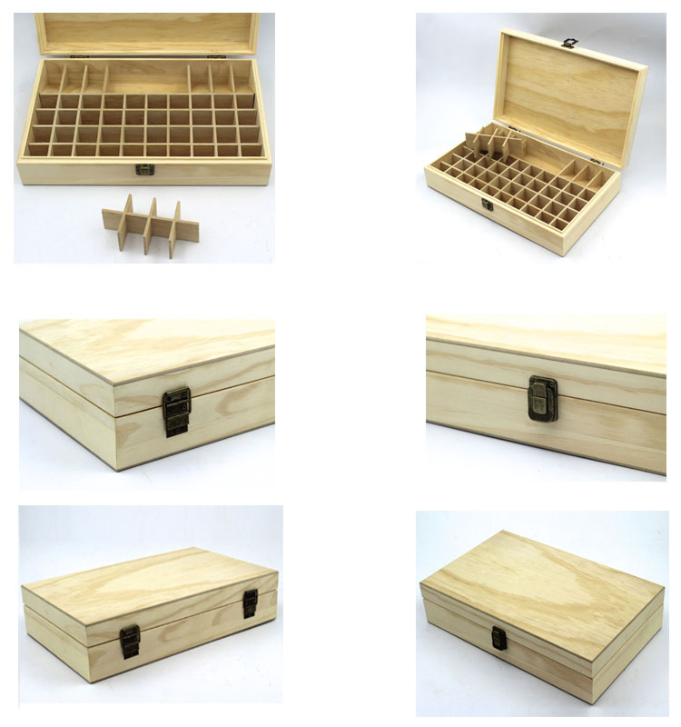 Luxury Handmade Wooden Essential Oil Storage Box With Hinged Lid
