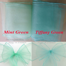 Cheap Aqua chiffon/organza chair sash for banquet wedding decoration