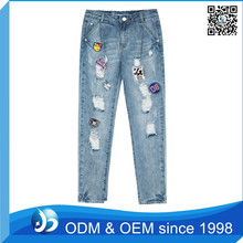 Factory Price Embroidered Ladies Brand Used Jeans