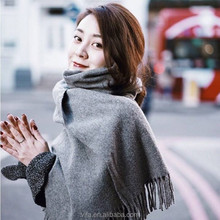 Fake Cashmere Plain Women Long Scarf with Tassel