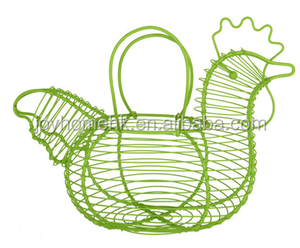 metal wire chicken shaped egg basket