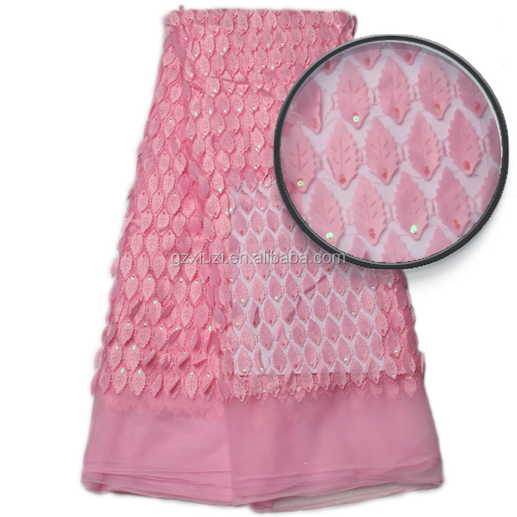 New Arrival Fashionable Baby Pink Wedding Dress Lace Embroidered African Net Lace Fabric