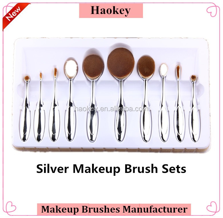 2016 New Arrival Tooth Brush Style 10PCS Makeup brush set/Oval BB Cream Foundation Brushes
