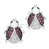 PES fashion Jewelry!Bling Lady Bug Pave Pink Simulated Ruby CZ Stud Earrings Silver (PES9-1196)
