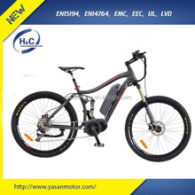 Alloy #6061 48V 7.8AH LG battery 8FUN BBS02 Mid drive 350w motor full suspension electric mountain bike with pedal assist
