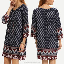 OEM China service new style navy lace up print retro vintage indian cotton dress