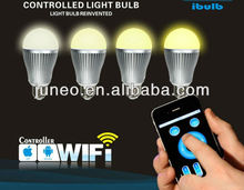 New color and temperature adjustable LED Bulb light,controlled by IOS, android system mobile phone