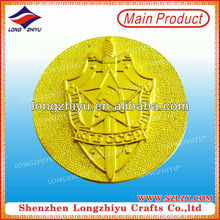 Shiny 24k gold plating sandblast Turkey souvenir medals coin badge with embossed logo