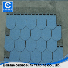 Sea blue color cheap asphalt shingles fish scale