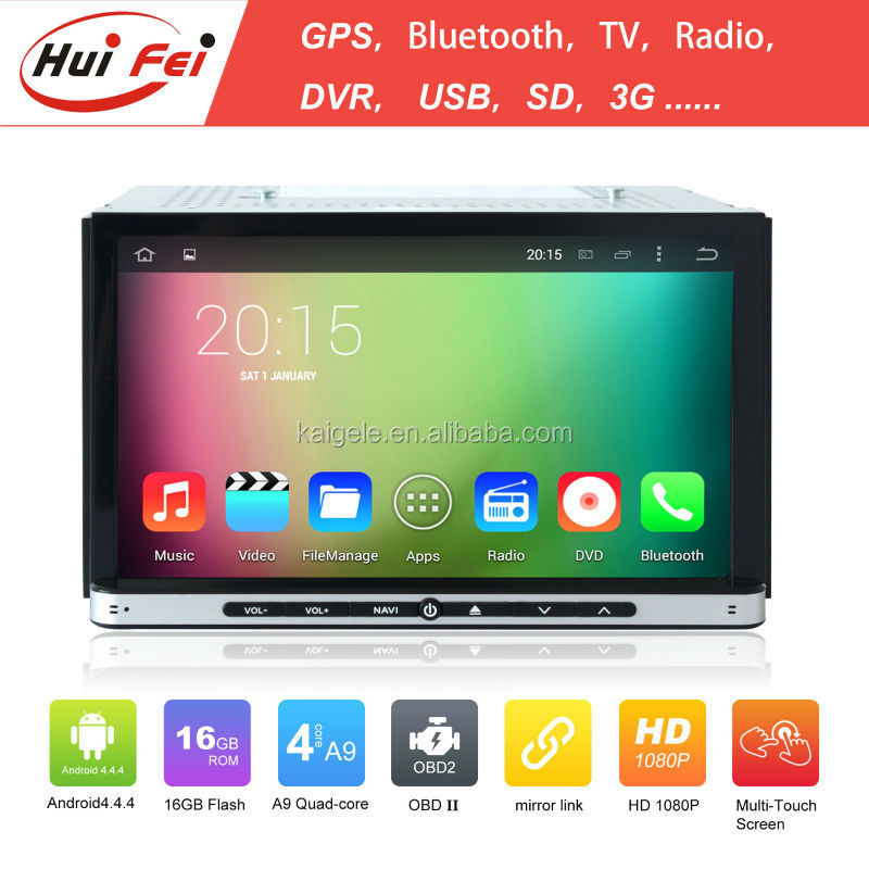 Android Car Dvd Player In Car Entertainment Quad Core Android 4.4 Capacitive Touch Screen 1024*600 Resolution