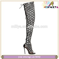 Miliya amazing sexy women thigh high gladiator over the knee boot sandal cut out
