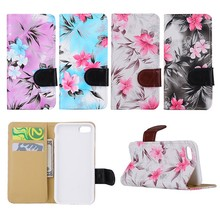 New Fashion For iPhone 7 Flower Pattern Wallet Phone Case with Card Slots, 4 Colors Available