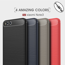 HUYSHE New Product for Mi Note3 Back Cover Soft Carbon Fiber TPU Case for Xiaomi Mi Note 3