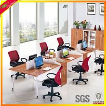 Knock down top level 6 cluster office desk, wooden office cluster