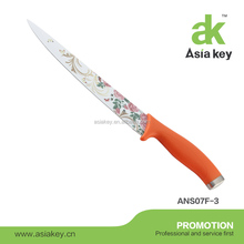 8 inches coated rose pattern on blade non-stick carving knife with Orange PP handle, As seen on TV kitchen
