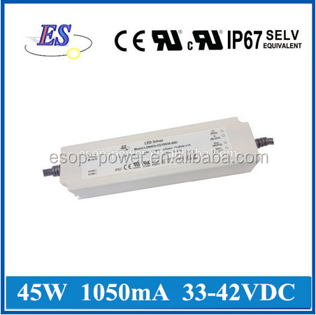 45W 42V 1050mA AC-DC Constant Current/Voltage LED Driver Power Supply with CE UL CUL IP67