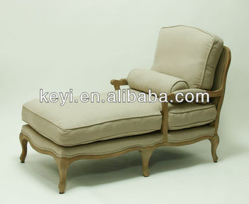 Carve fabric wooden Chaise longue in french style