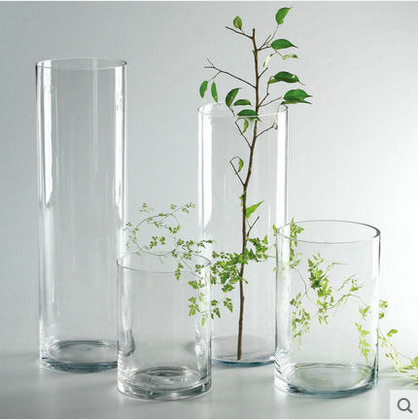 Simple cheap tall home wedding decor cylinder flower glass vase