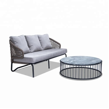 Flat Rope 3 Seater Outdoor Sofa Weaving Rope Furniture Sofa