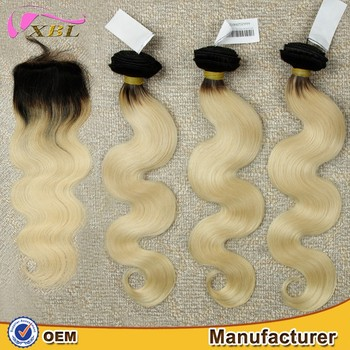 2016 Best Seller Brazilian body wave hair bundles ombre hair extension color 1b and 613