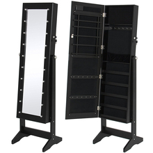 Armoire with Mirror Jewelry Holder Organizer Storage Jewelry Cabinet Home Furniture Cabinet Full-length Mirror Cabinet