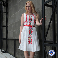 Summer new design fashion Embroidered sleeveless woman cotton tunic dress