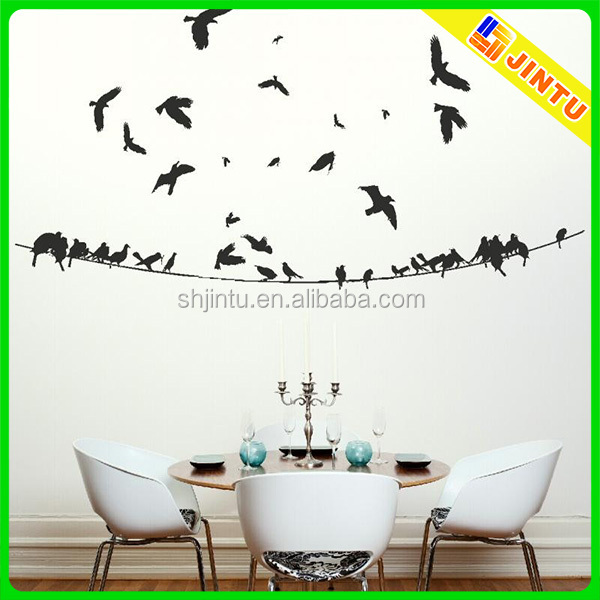 Removable vinyl home wall sticker/wall decal flying birds wallpaper