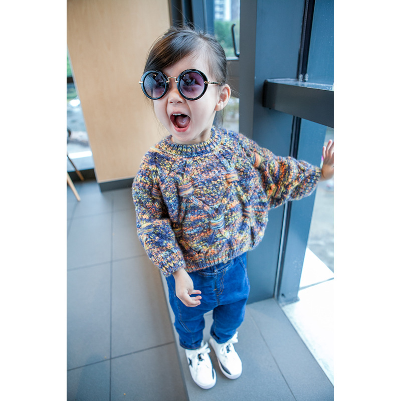 C72979A Wholesale flower sweaters design for kids new design girl sweater