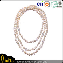 Yiwu Wholesale Market Popular Natural Pearl Jewelry, Fashion Trend Three Layer Bead Necklace