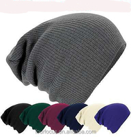fall acrylic adult plain beanie slouch long knit hat