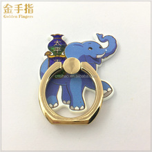Cute elephant desgin plastic and zinc alloy phone finger ring holder