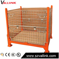 Sell Online Folding Metal Wire Mesh Container/ Stackable Storage Cage/ Metal Basket