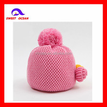 custom cute child knit acrylic beanie hat with top flower