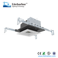 high-end indoor light die-cast aluminum trimless COB led square downlight for new construction with junction box