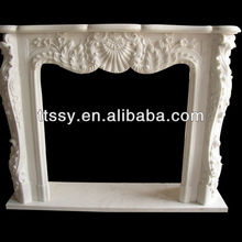 stone carving decorating flowers fireplace