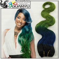 cheap virgin passion human hair extension on sale,three tone 1b/blue/green body wave human hair weave