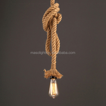 Indoor industrial decorative hemp rope lamp suspended ceiling light hanging e27 pendant lighting