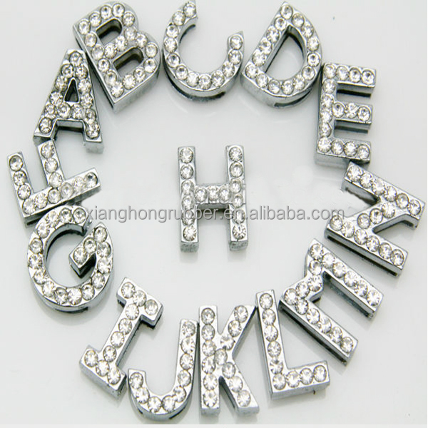 Hot sale 10mm rhinestone alphabet slide letters for bracelet