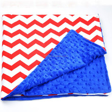 Personalized cotton and minky dot fabric baby soft blanket boutique chevron baby girl blanket