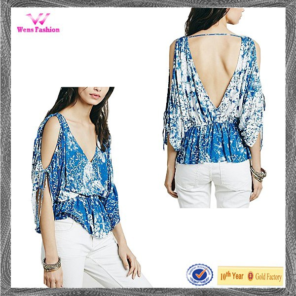Smart Floral Printing Sexy Backless Halter Womens Blouse Top