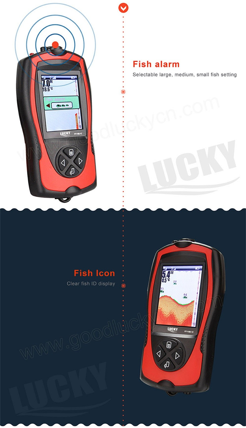 Lucky FF1108-1C Portable 2-in-1 Wireless&Wired Sonar Transducer ICE/Ocean/Boat Fish finder Alarm